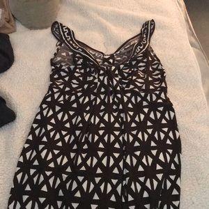 Geometric brown and white mini dress